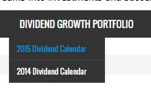 Bonus Coverage - My Dividend Growth Portfolio - 2015 Dividend Calendar Menu